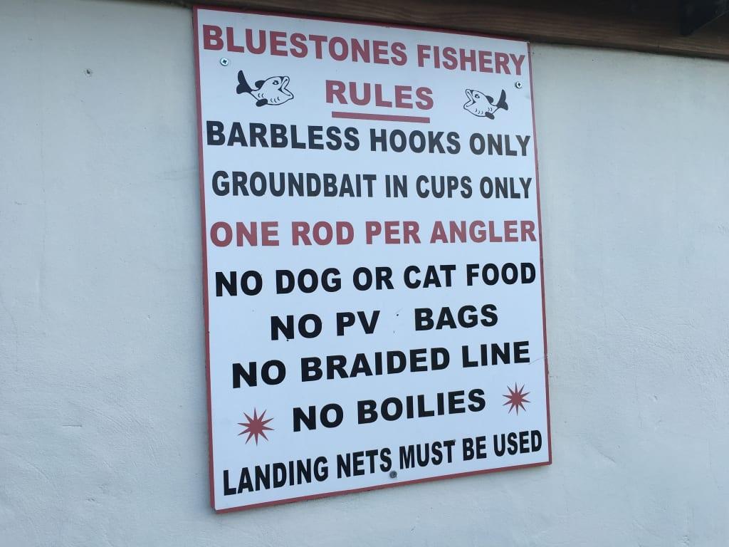 Bluestones Fishery, Rules