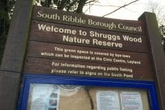 Shruggs Wood Leyland sign